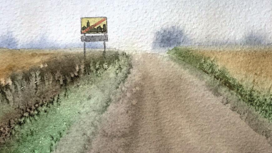 Akvarellityö, jossa on maisema.