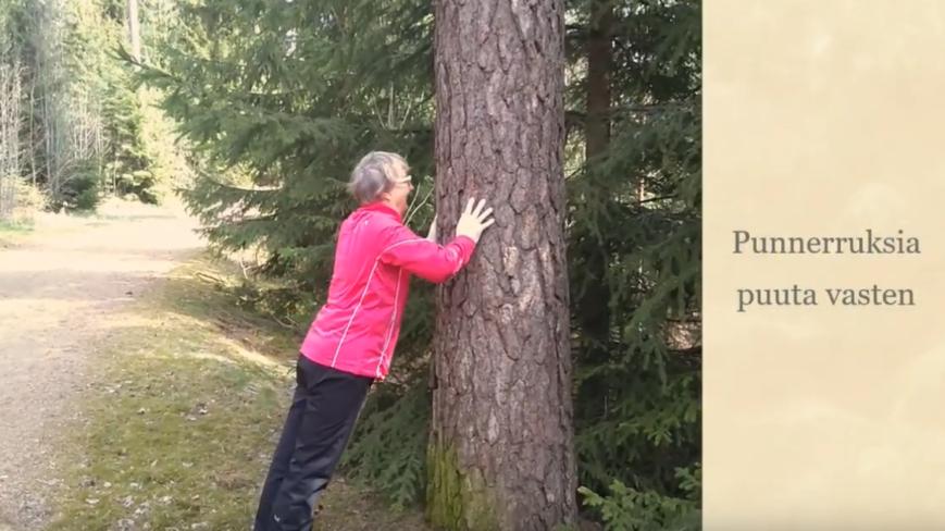 punnerra puuta vasten